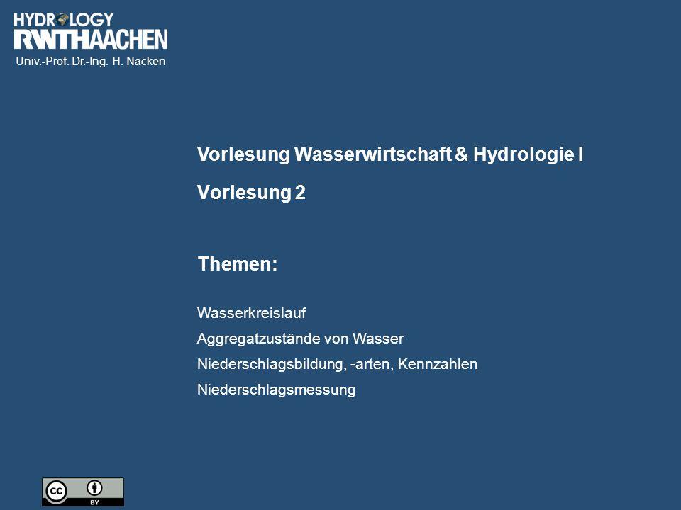 Univ.-Prof. Dr.-Ing. H. Nacken Vorlesung Wasserwirtschaft & Hydrologie I Themen: Vorlesung 2 Wasserkreislauf Aggregatzustände von Wasser Niederschlags