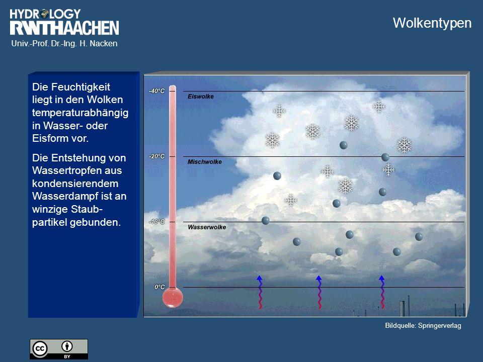 Univ.-Prof. Dr.-Ing. H. Nacken Bildquelle: Springerverlag Die Feuchtigkeit liegt in den Wolken temperaturabhängig in Wasser- oder Eisform vor. Die Ent