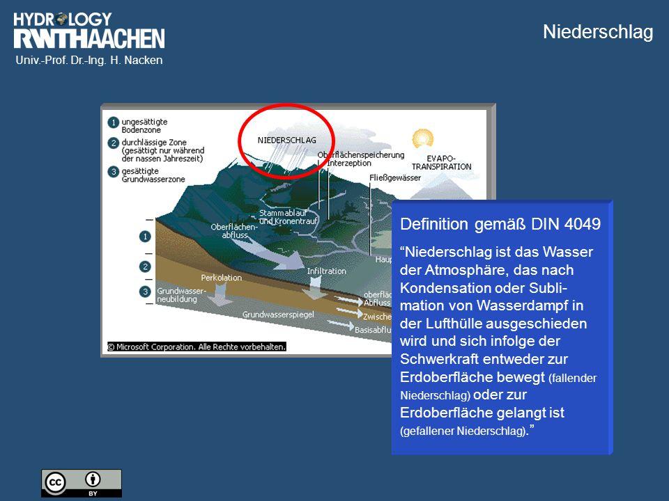 """Univ.-Prof. Dr.-Ing. H. Nacken Definition gemäß DIN 4049 """"Niederschlag ist das Wasser der Atmosphäre, das nach Kondensation oder Subli- mation von Was"""