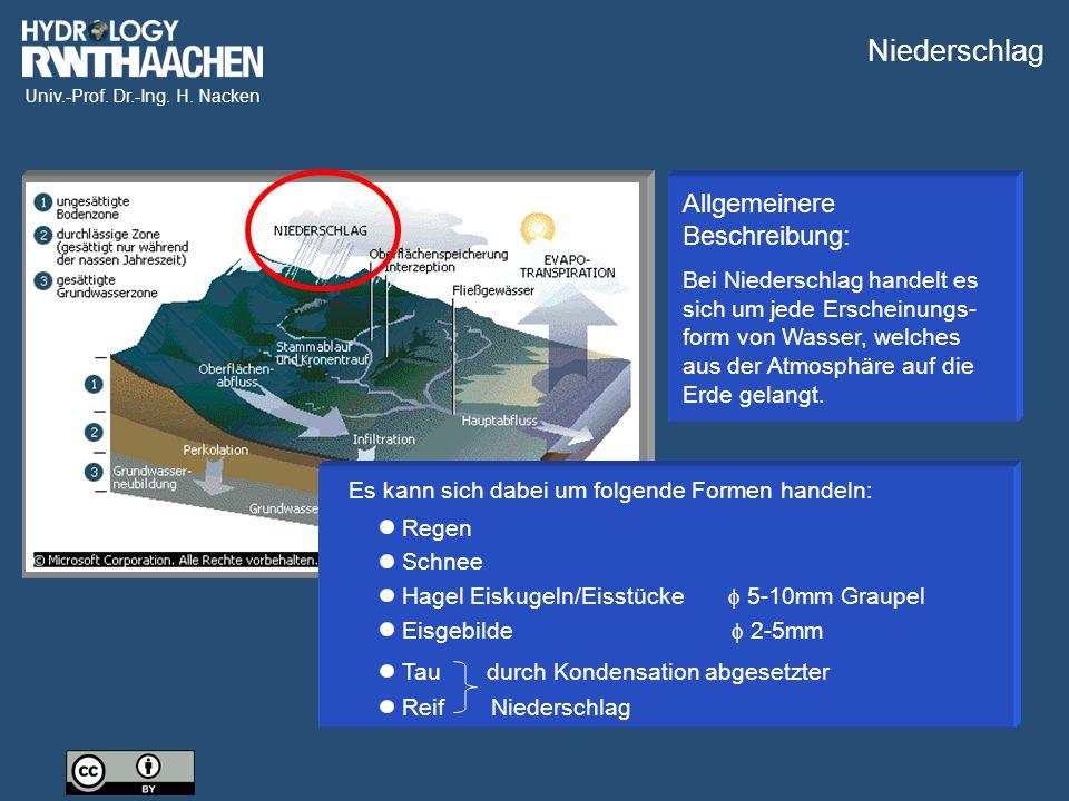 Univ.-Prof. Dr.-Ing. H. Nacken Allgemeinere Beschreibung: Bei Niederschlag handelt es sich um jede Erscheinungs- form von Wasser, welches aus der Atmo