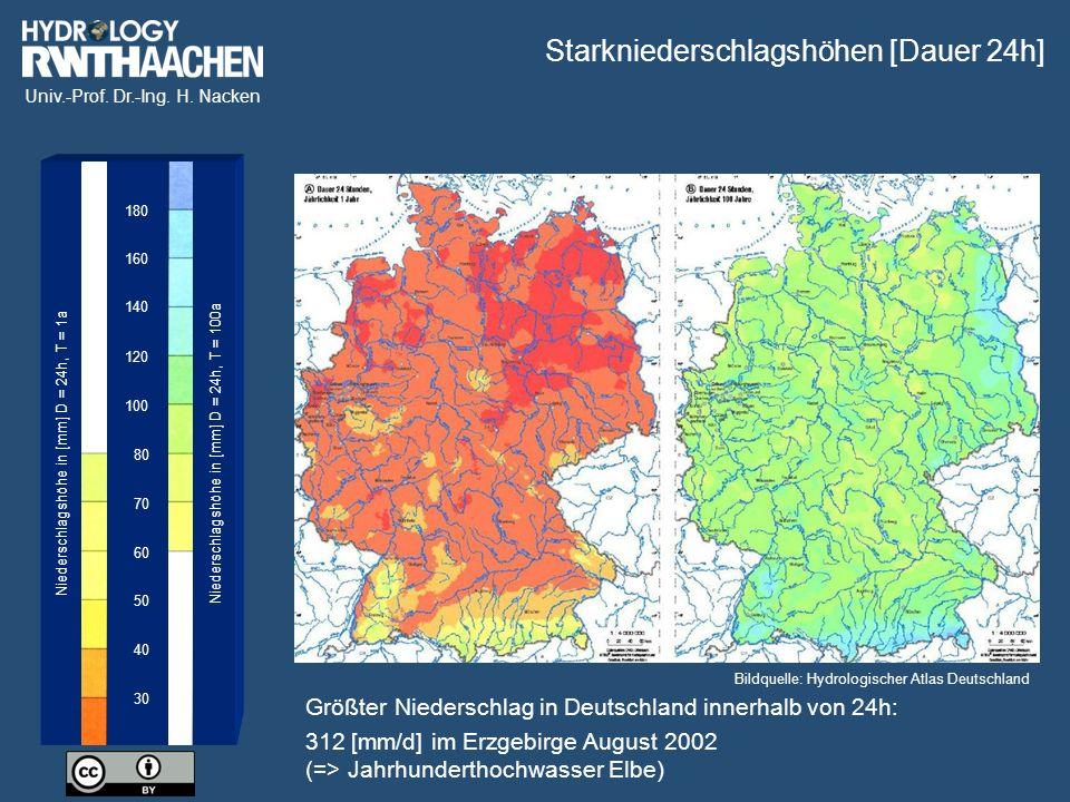 Univ.-Prof. Dr.-Ing. H. Nacken 30 40 50 60 70 80 100 120 140 180 160 Niederschlagshöhe in [mm] D = 24h, T = 1a Niederschlagshöhe in [mm] D = 24h, T =