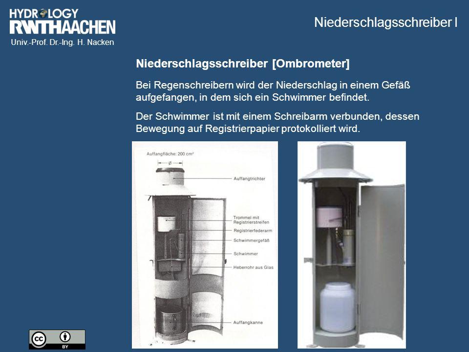 Univ.-Prof. Dr.-Ing. H. Nacken Niederschlagsschreiber [Ombrometer] Bei Regenschreibern wird der Niederschlag in einem Gefäß aufgefangen, in dem sich e