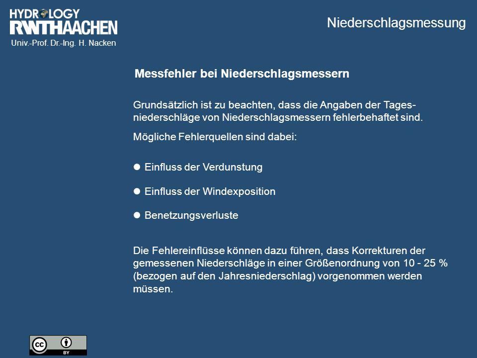 Univ.-Prof. Dr.-Ing. H. Nacken Messfehler bei Niederschlagsmessern Grundsätzlich ist zu beachten, dass die Angaben der Tages- niederschläge von Nieder