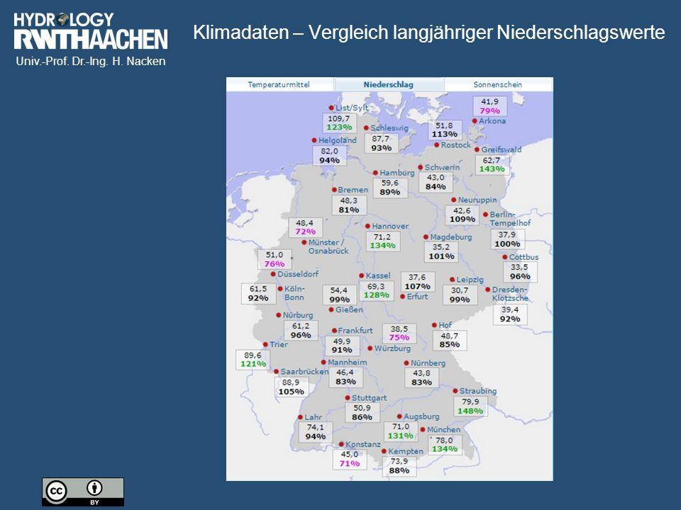 Univ.-Prof. Dr.-Ing. H. Nacken Klimadaten – Vergleich langjähriger Niederschlagswerte