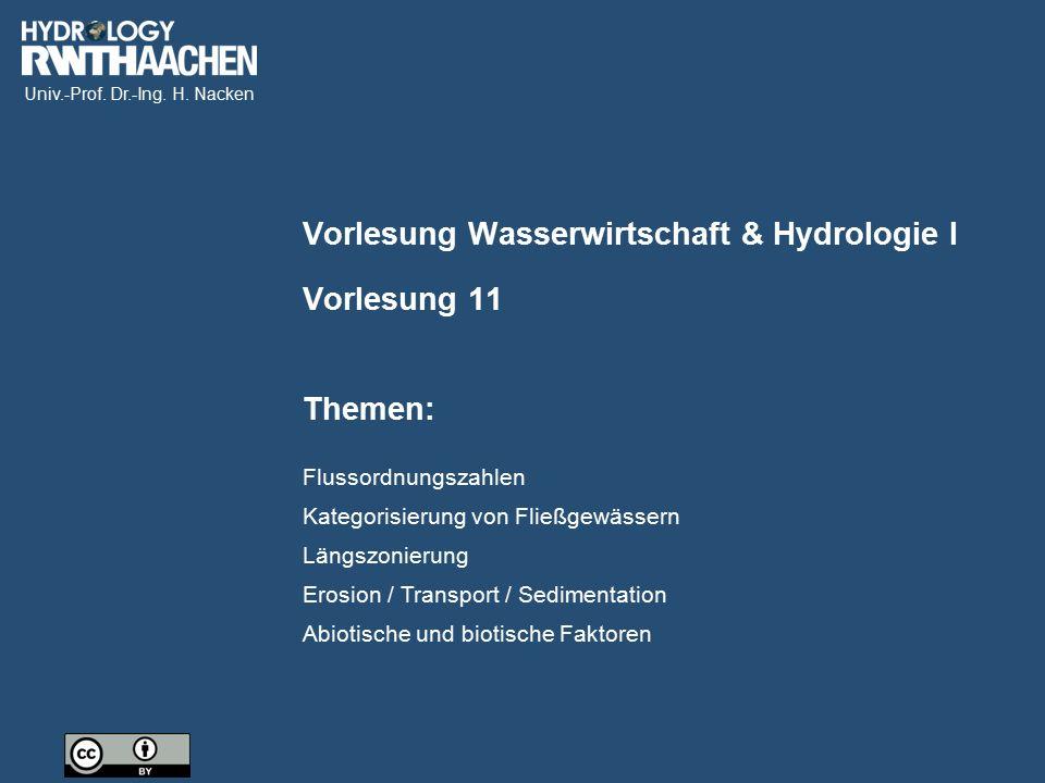 Univ.-Prof. Dr.-Ing. H. Nacken Flussordnungszahlen Kategorisierung von Fließgewässern Längszonierung Erosion / Transport / Sedimentation Abiotische un