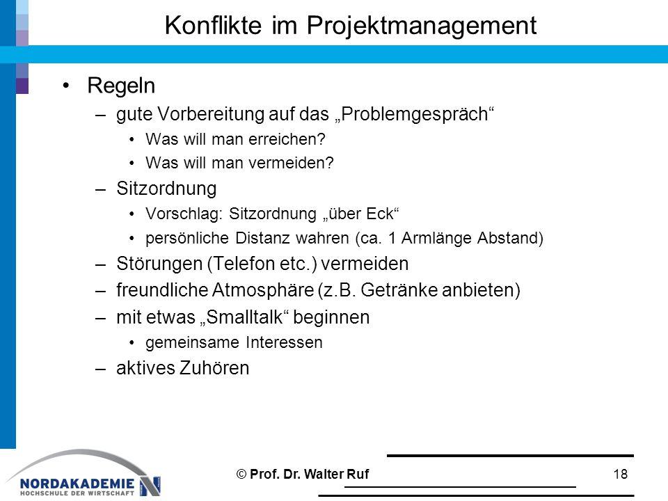 """Konflikte im Projektmanagement Regeln –gute Vorbereitung auf das """"Problemgespräch"""" Was will man erreichen? Was will man vermeiden? –Sitzordnung Vorsch"""