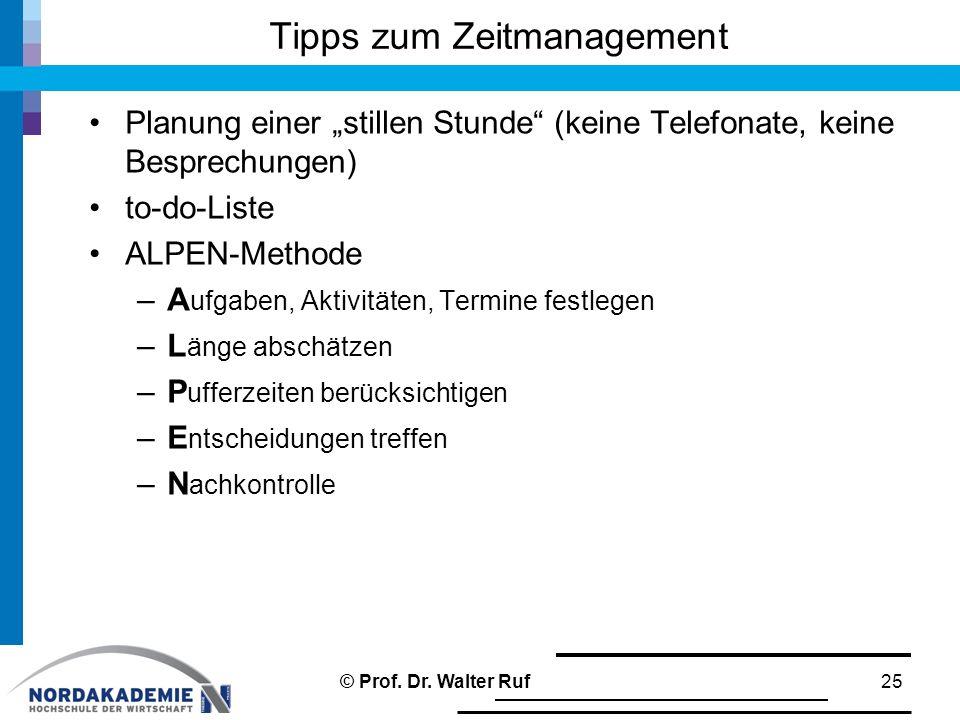 """Tipps zum Zeitmanagement Planung einer """"stillen Stunde"""" (keine Telefonate, keine Besprechungen) to-do-Liste ALPEN-Methode –A ufgaben, Aktivitäten, Ter"""