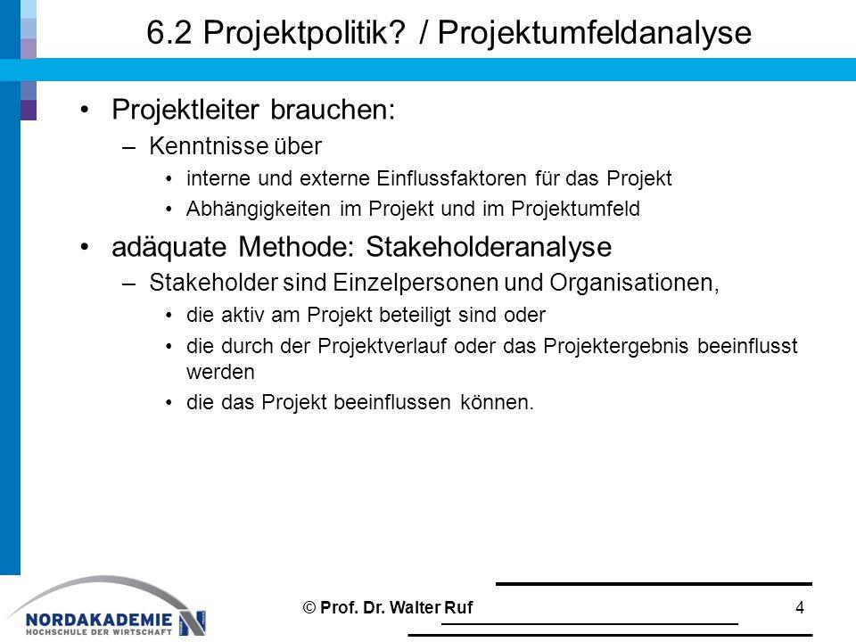 6.2 Projektpolitik? / Projektumfeldanalyse Projektleiter brauchen: –Kenntnisse über interne und externe Einflussfaktoren für das Projekt Abhängigkeite