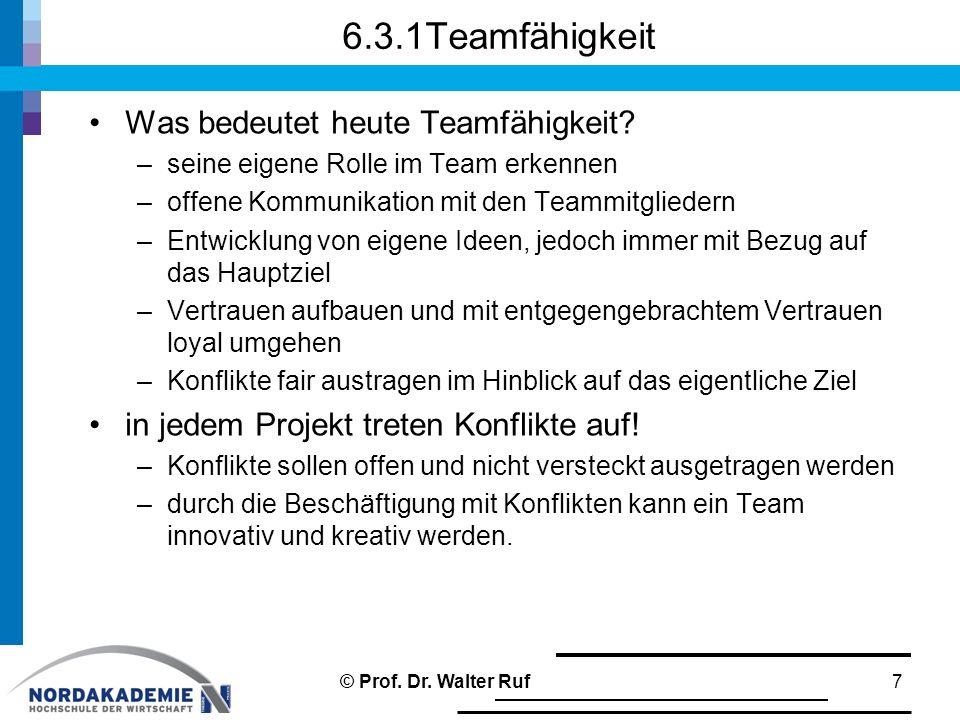 6.3.1Teamfähigkeit Was bedeutet heute Teamfähigkeit? –seine eigene Rolle im Team erkennen –offene Kommunikation mit den Teammitgliedern –Entwicklung v