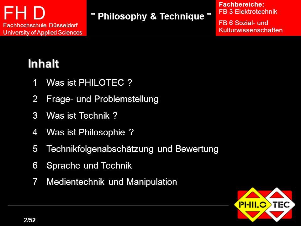 FH D Fachhochschule Düsseldorf University of Applied Sciences 1/47 Fachbereiche: FB 3 Elektrotechnik FB 6 Sozial- und Kulturwissenschaften