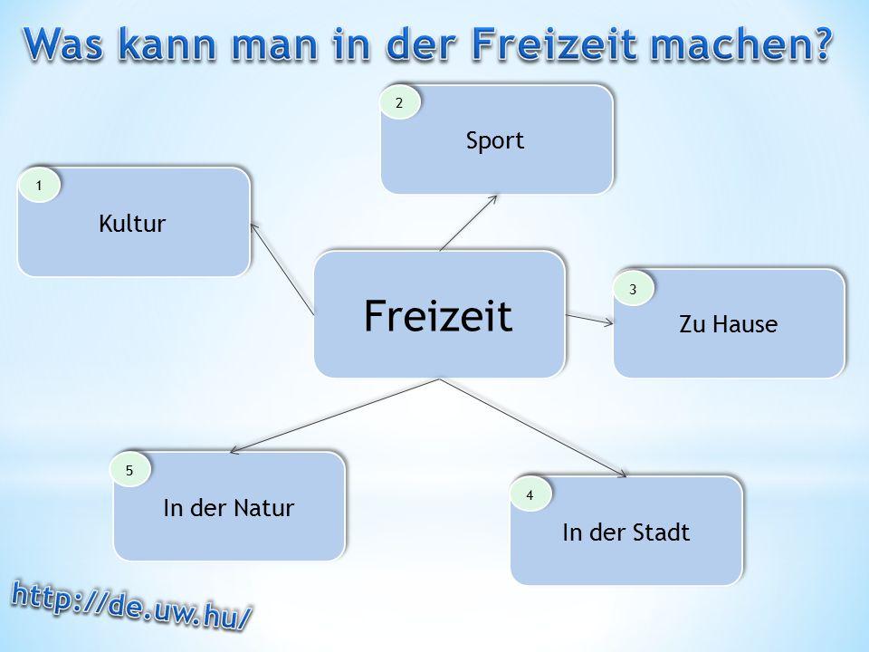 Freizeit Kultur Sport Zu Hause In der Stadt In der Natur 1 1 2 2 3 3 4 4 5 5