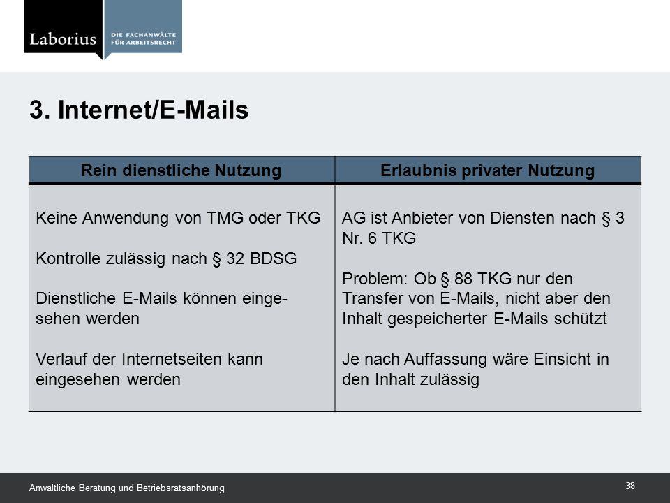 Rein dienstliche NutzungErlaubnis privater Nutzung Keine Anwendung von TMG oder TKG Kontrolle zulässig nach § 32 BDSG Dienstliche E-Mails können einge
