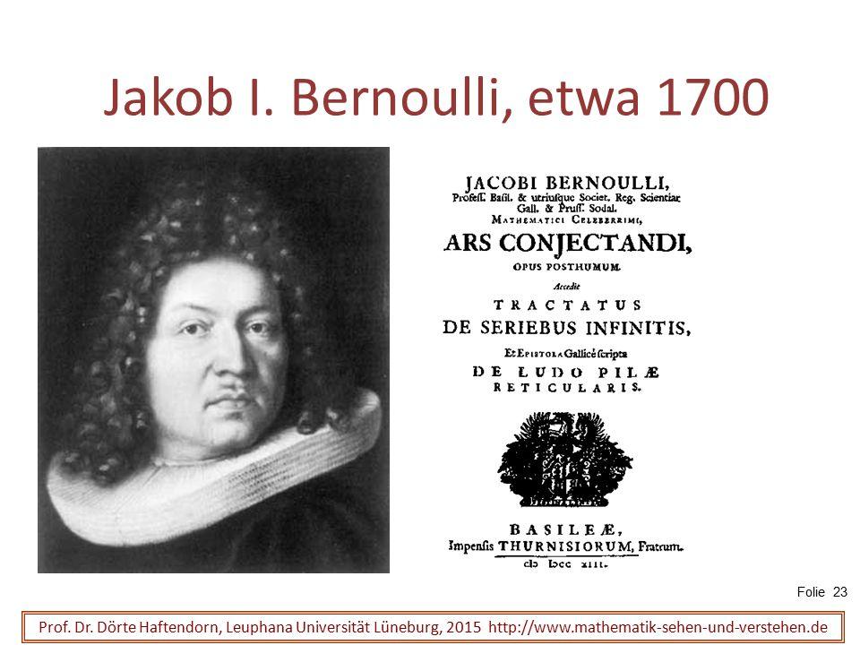 Jakob I. Bernoulli, etwa 1700 Prof. Dr. Dörte Haftendorn, Leuphana Universität Lüneburg, 2015 http://www.mathematik-sehen-und-verstehen.de Folie 23