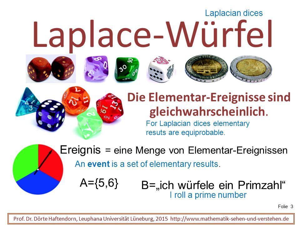 Laplace-Gesetz Sind alle Elementar-Ereignisse gleich-wahrscheinlich, dann ist die Wahrscheinlichkeit eines zusammengesetzten Ereignisses E : Prof.