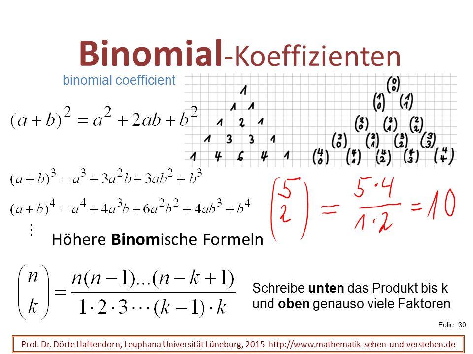 Binomial -Koeffizienten Prof. Dr. Dörte Haftendorn, Leuphana Universität Lüneburg, 2015 http://www.mathematik-sehen-und-verstehen.de Höhere Binomische