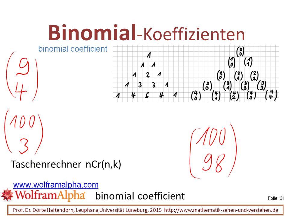 Binomial -Koeffizienten Prof. Dr. Dörte Haftendorn, Leuphana Universität Lüneburg, 2015 http://www.mathematik-sehen-und-verstehen.de Taschenrechner nC