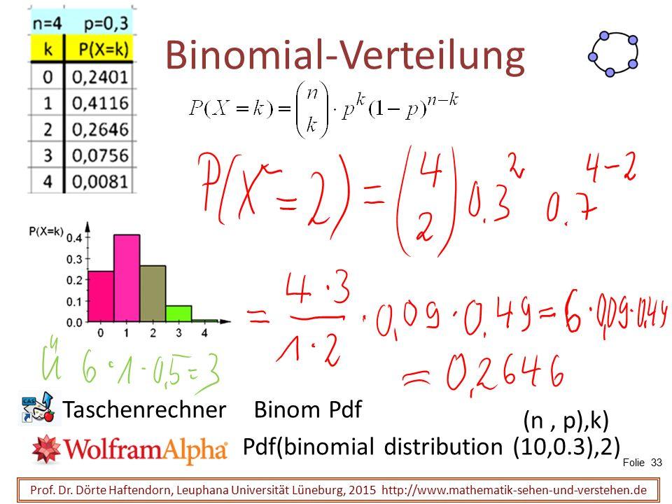 Binomial-Verteilung Prof. Dr. Dörte Haftendorn, Leuphana Universität Lüneburg, 2015 http://www.mathematik-sehen-und-verstehen.de Taschenrechner Binom