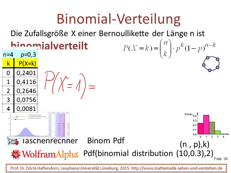 Die Zufallsgröße X einer Bernoullikette der Länge n ist binomialverteilt Binomial-Verteilung Prof. Dr. Dörte Haftendorn, Leuphana Universität Lüneburg