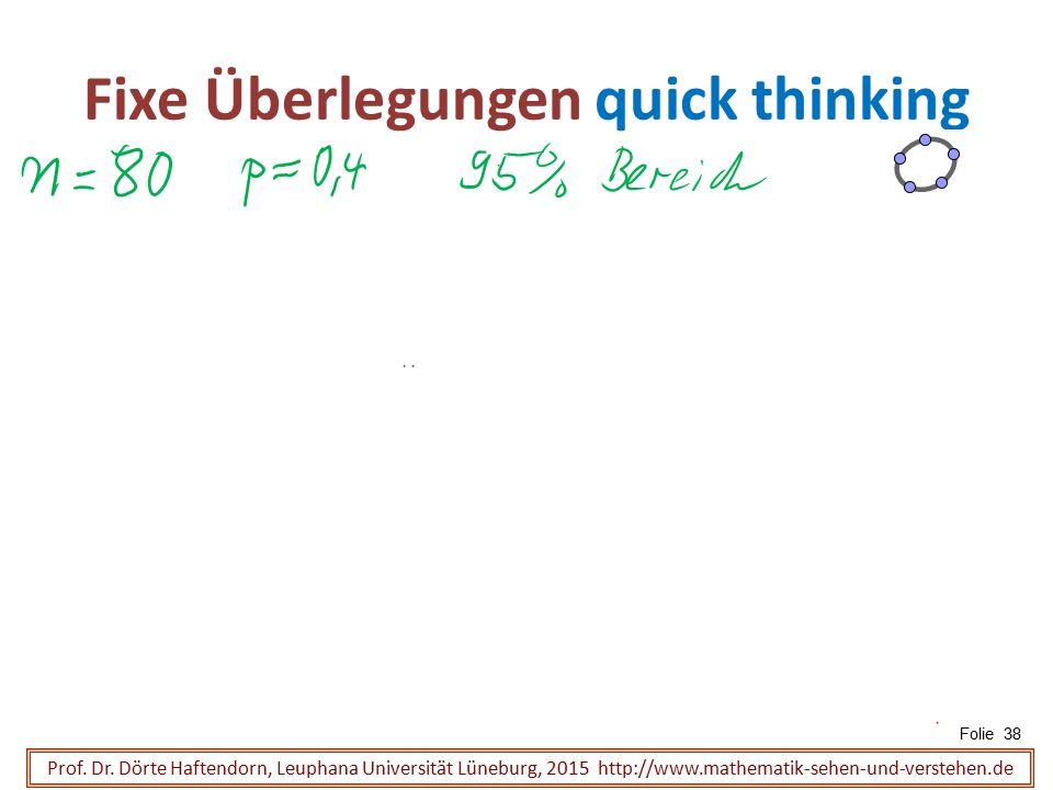 Fixe Überlegungen quick thinking Folie 38 Prof. Dr. Dörte Haftendorn, Leuphana Universität Lüneburg, 2015 http://www.mathematik-sehen-und-verstehen.de