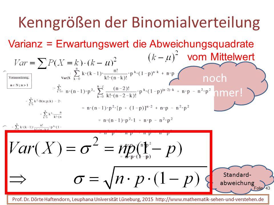Kenngrößen der Binomialverteilung Prof. Dr. Dörte Haftendorn, Leuphana Universität Lüneburg, 2015 http://www.mathematik-sehen-und-verstehen.de Varianz