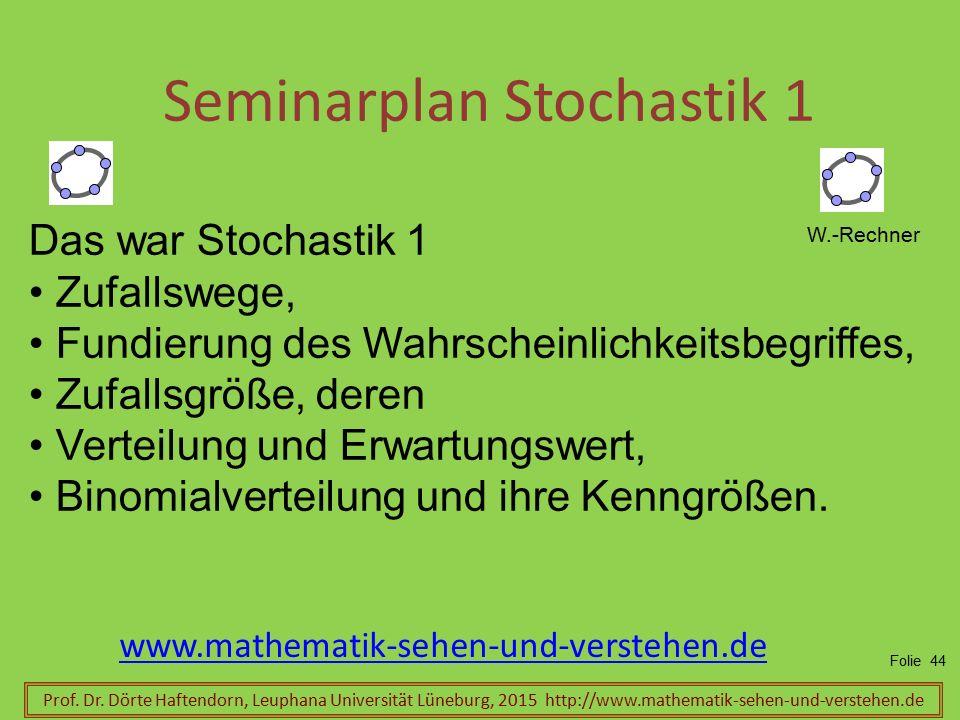 Seminarplan Stochastik 1 Prof. Dr. Dörte Haftendorn, Leuphana Universität Lüneburg, 2015 http://www.mathematik-sehen-und-verstehen.de www.mathematik-s
