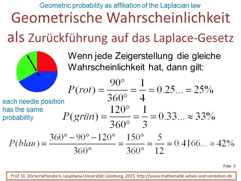 Geometrische Wahrscheinlichkeit als Zurückführung auf das Laplace-Gesetz Prof. Dr. Dörte Haftendorn, Leuphana Universität Lüneburg, 2015 http://www.ma