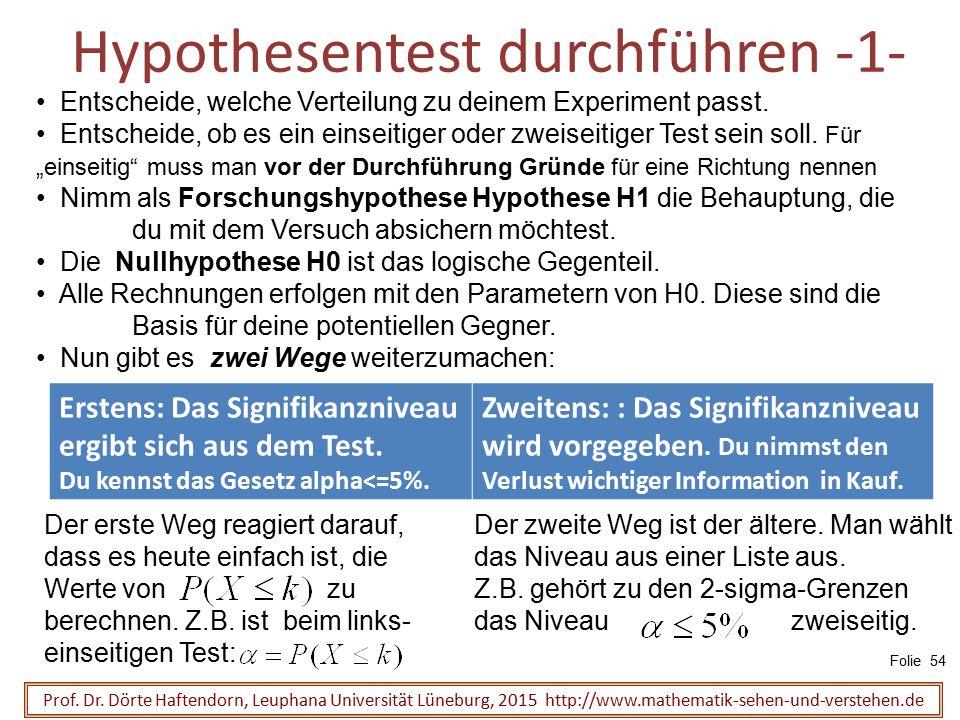 Hypothesentest durchführen -1- Prof. Dr. Dörte Haftendorn, Leuphana Universität Lüneburg, 2015 http://www.mathematik-sehen-und-verstehen.de Entscheide