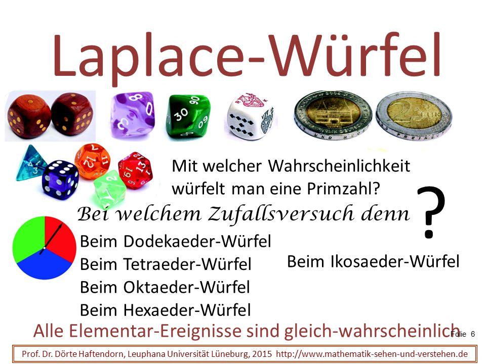 Beim Tetraeder-Würfel Beim Dodekaeder-Würfel Laplace-Würfel Alle Elementar-Ereignisse sind gleich-wahrscheinlich Prof. Dr. Dörte Haftendorn, Leuphana
