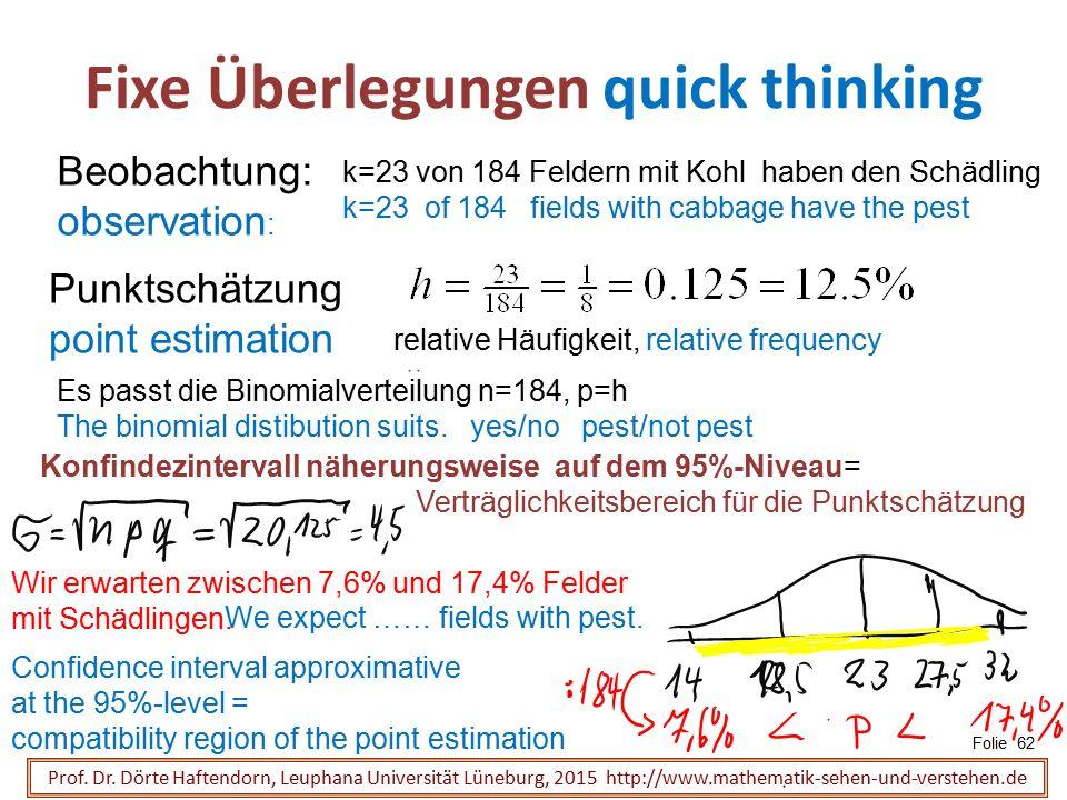 Fixe Überlegungen quick thinking Folie 62 Prof. Dr. Dörte Haftendorn, Leuphana Universität Lüneburg, 2015 http://www.mathematik-sehen-und-verstehen.de