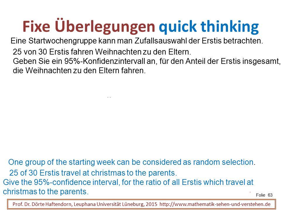 Fixe Überlegungen quick thinking Folie 63 Prof. Dr. Dörte Haftendorn, Leuphana Universität Lüneburg, 2015 http://www.mathematik-sehen-und-verstehen.de
