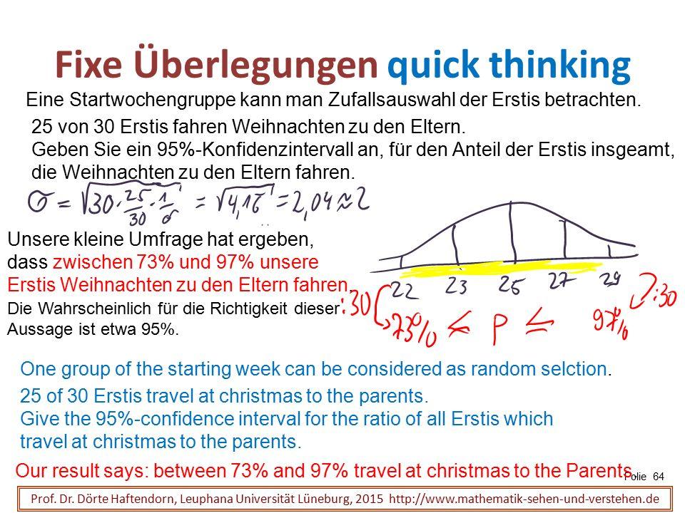 Fixe Überlegungen quick thinking Folie 64 Prof. Dr. Dörte Haftendorn, Leuphana Universität Lüneburg, 2015 http://www.mathematik-sehen-und-verstehen.de
