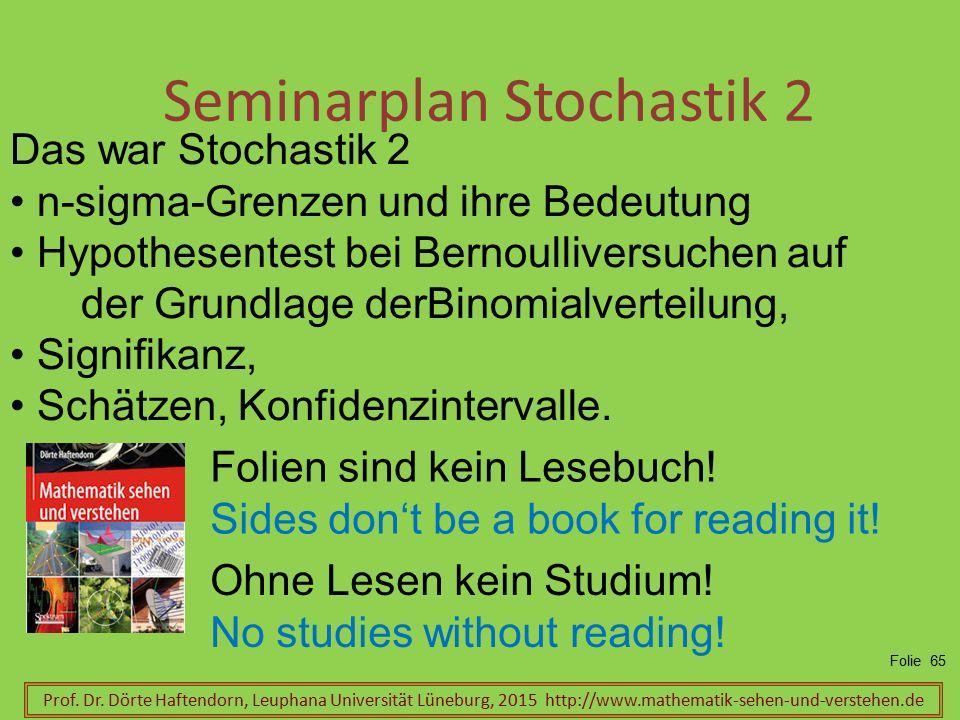 Seminarplan Stochastik 2 Prof. Dr. Dörte Haftendorn, Leuphana Universität Lüneburg, 2015 http://www.mathematik-sehen-und-verstehen.de Folie 65 Das war