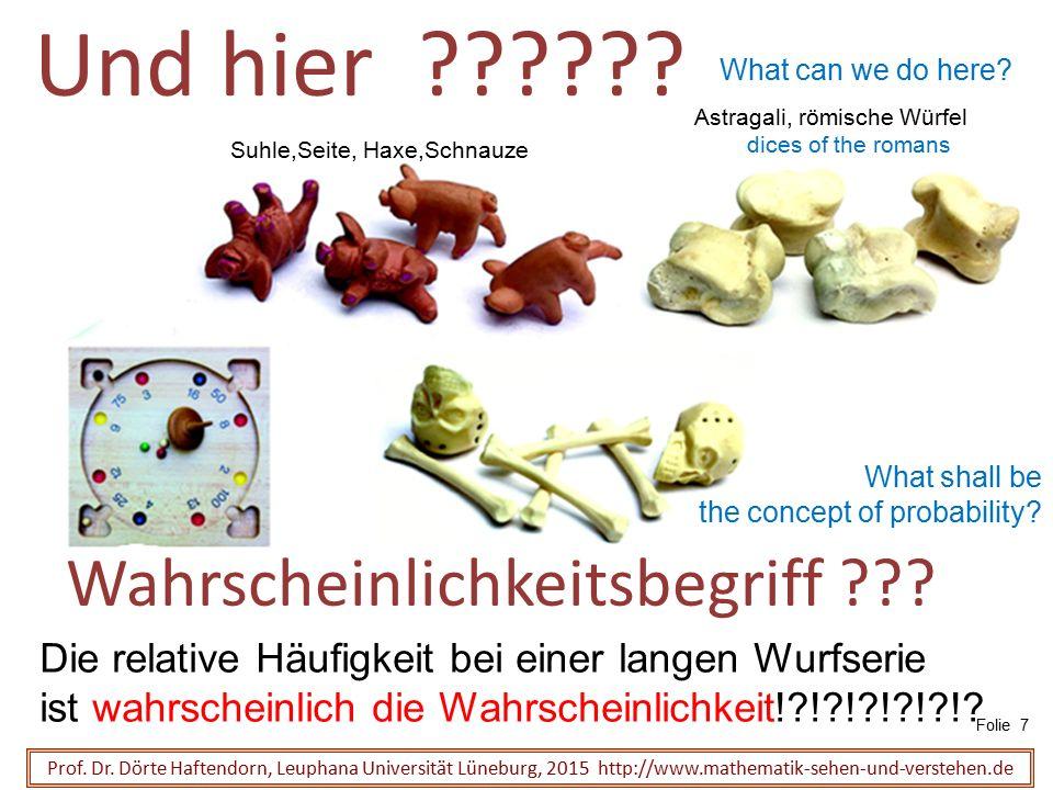 Wahrscheinlichkeitsbegriff ??? Prof. Dr. Dörte Haftendorn, Leuphana Universität Lüneburg, 2015 http://www.mathematik-sehen-und-verstehen.de Und hier ?