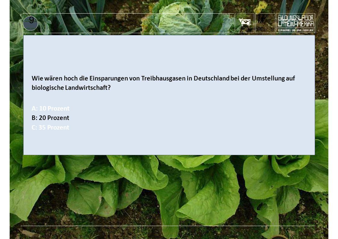 KUHFRISST REGENWALD 3 WrWr DENREGENWALD? 24 WERISST 3232 9 Wie wären hoch die Einsparungen von Treibhausgasen in Deutschland bei der Umstellung auf bi