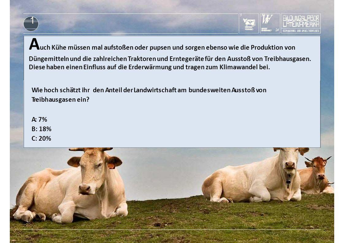 KUHFRISST REGENWALD 3 WrWr DENREGENWALD? 24 WERISST 3232 1 Wie hoch schätzt ihr den Anteil der Landwirtschaft am bundesweiten Ausstoß von Treibhausgas