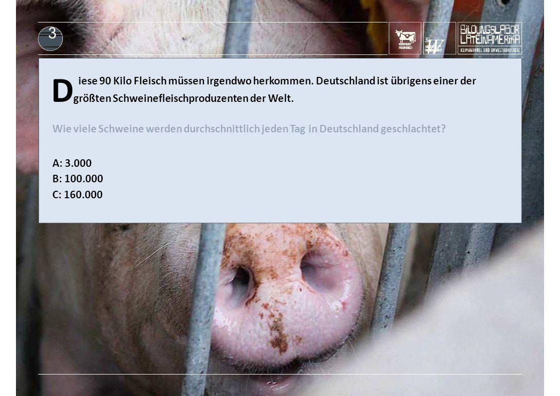 KUHFRISST REGENWALD D größten Schweinefleischproduzenten der Welt. iese 90 Kilo Fleisch müssen irgendwo herkommen. Deutschland ist übrigens einer der