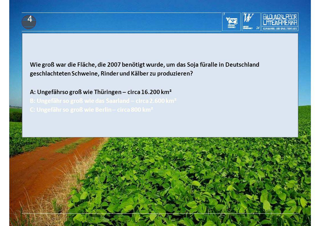 KUHFRISST REGENWALD 3 WrWr DENREGENWALD? 24 WERISST 3232 4 Wie groß war die Fläche, die 2007 benötigt wurde, um das Soja füralle in Deutschland geschl