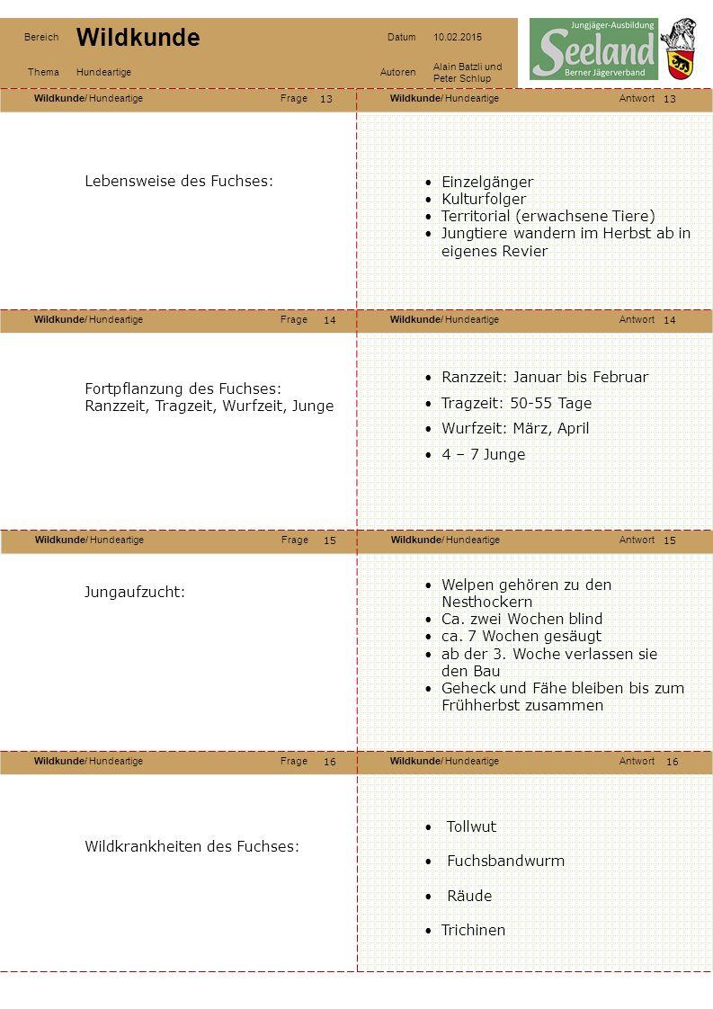 Wildkunde/ HundeartigeFrageWildkunde/ HundeartigeAntwort Wildkunde/ HundeartigeFrageWildkunde/ HundeartigeAntwort Wildkunde/ HundeartigeFrageWildkunde/ HundeartigeAntwort Wildkunde/ HundeartigeFrageWildkunde/ HundeartigeAntwort Bereich Wildkunde Datum10.02.2015 ThemaHundeartigeAutoren Alain Batzli und Peter Schlup 17 18 20 19 18 19 20 Bestandeszusammensetzung: Was passiert, wenn es zu viele Füchse hat.