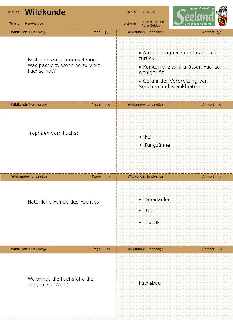 Wildkunde/ HundeartigeFrageWildkunde/ HundeartigeAntwort Wildkunde/ HundeartigeFrageWildkunde/ HundeartigeAntwort Wildkunde/ HundeartigeFrageWildkunde/ HundeartigeAntwort Wildkunde/ HundeartigeFrageWildkunde/ HundeartigeAntwort Bereich Wildkunde Datum10.02.2015 ThemaHundeartigeAutoren Alain Batzli und Peter Schlup 21 22 24 23 22 23 24 Verbreitung und Lebensraum des Marderhundes: Ganze Schweiz möglich, aber sehr selten (nur einzelne Nachweise): Gewässerreiche Reviere mit Rohr, Schilf und Gehölz (bis 300m Höhe) Hält sich tagsüber meist in Fuchs- oder Dachsbau auf.