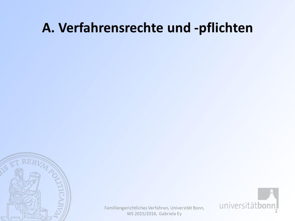 I. Verfahrensrechte Familiengerichtliches Verfahren, Universität Bonn, WS 2015/2016, Gabriele Ey 3