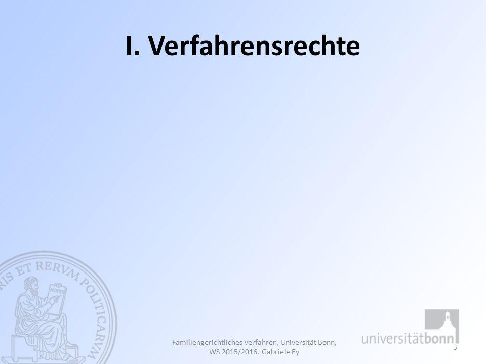 MÜNDLICHE ERLÄUTERUNG DES GUTACHTENS 124 Familiengerichtliches Verfahren, Universität Bonn, Studienjahr 2013/2014, Gabriele Ey