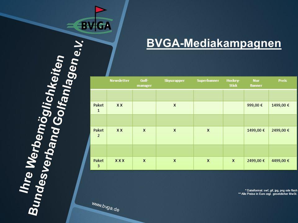 BVGA-Mediakampagnen, * Dateiformat: swf, gif, jpg, png ode flash ** Alle Preise in Euro zzgl.