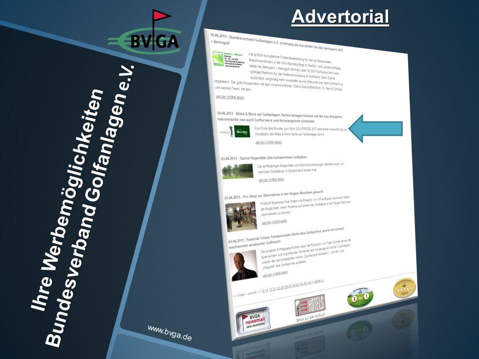 Ihre Werbemöglichkeiten Bundesverband Golfanlagen e.V. Advertorial