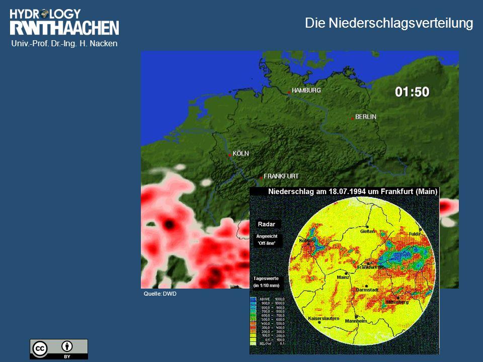 Univ.-Prof. Dr.-Ing. H. Nacken Quelle: DWD Die Niederschlagsverteilung