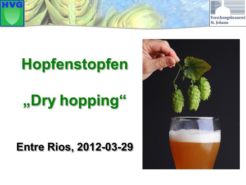Daenen/Derdelinckx fanden bisher unbekannte Substanzen in hopfengestopften Bieren:  Cis-3-hexen-1-ol (grasig)  Dihydroedulane (Holunderblüte)  Theaspiranes (Kampfer) Nachgärung mit Brettanomyces Hefe (in hopfengestopften Bieren) Aromastoffe beim Hopfenstopfen 22