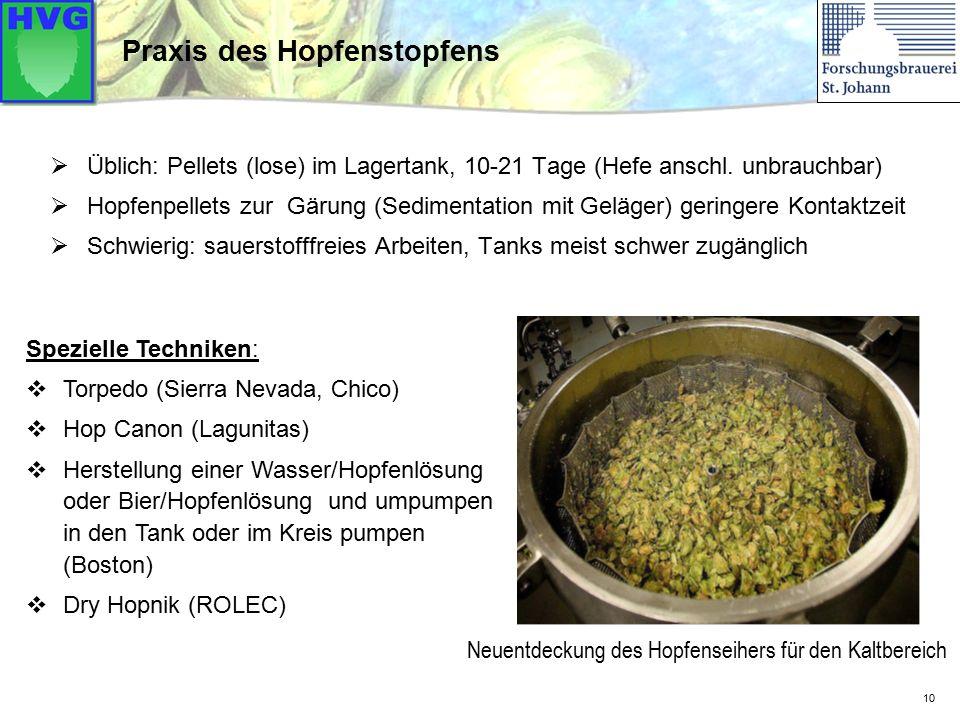  Üblich: Pellets (lose) im Lagertank, 10-21 Tage (Hefe anschl. unbrauchbar)  Hopfenpellets zur Gärung (Sedimentation mit Geläger) geringere Kontaktz