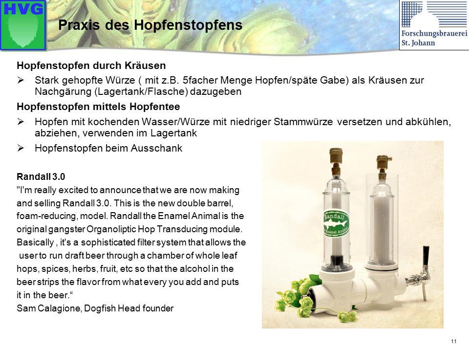 11 Praxis des Hopfenstopfens Hopfenstopfen durch Kräusen  Stark gehopfte Würze ( mit z.B.