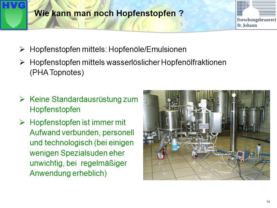 14 Wie kann man noch Hopfenstopfen ?  Keine Standardausrüstung zum Hopfenstopfen  Hopfenstopfen ist immer mit Aufwand verbunden, personell und techn