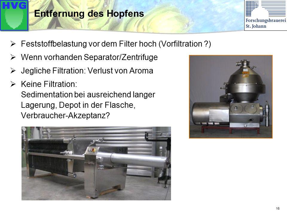 16 Entfernung des Hopfens  Feststoffbelastung vor dem Filter hoch (Vorfiltration ?)  Wenn vorhanden Separator/Zentrifuge  Jegliche Filtration: Verl