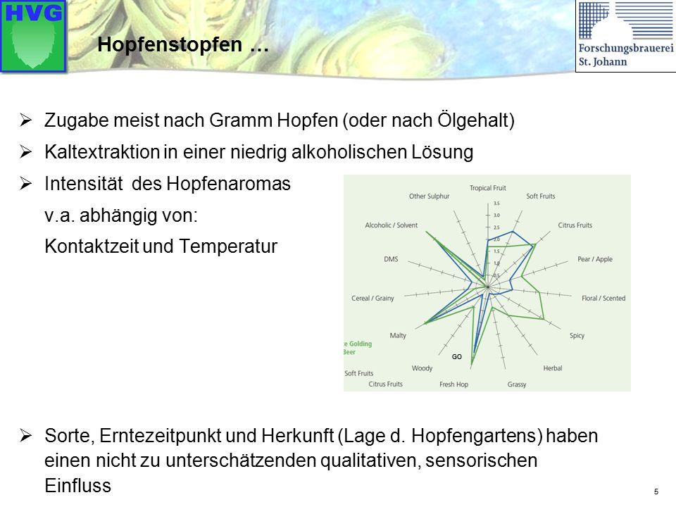 5 Hopfenstopfen …  Zugabe meist nach Gramm Hopfen (oder nach Ölgehalt)  Kaltextraktion in einer niedrig alkoholischen Lösung  Intensität des Hopfenaromas v.a.